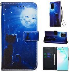 Cat and Moon Matte Leather Wallet Phone Case for Samsung Galaxy S10 Lite(6.7 inch)