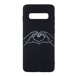 Heart Hand Stick Figure Matte Black TPU Phone Cover for Samsung Galaxy S10 Plus(6.4 inch)
