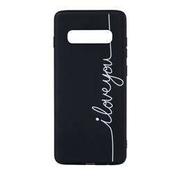 Love Stick Figure Matte Black TPU Phone Cover for Samsung Galaxy S10 Plus(6.4 inch)