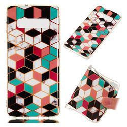 Three-dimensional Square Soft TPU Marble Pattern Phone Case for Samsung Galaxy S10 Plus(6.4 inch)