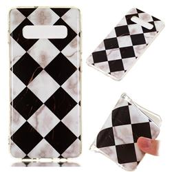Black and White Matching Soft TPU Marble Pattern Phone Case for Samsung Galaxy S10 Plus(6.4 inch)