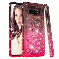 Diamond Frame Liquid Glitter Quicksand Sequins Phone Case for Samsung Galaxy S10 Plus(6.4 inch) - Gray Pink