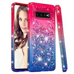 Diamond Frame Liquid Glitter Quicksand Sequins Phone Case for Samsung Galaxy S10 Plus(6.4 inch) - Pink Blue
