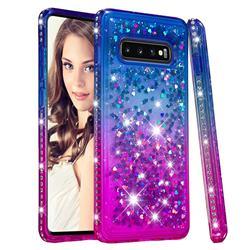 Diamond Frame Liquid Glitter Quicksand Sequins Phone Case for Samsung Galaxy S10 Plus(6.4 inch) - Blue Purple