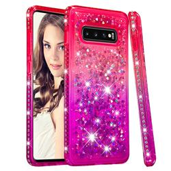 Diamond Frame Liquid Glitter Quicksand Sequins Phone Case for Samsung Galaxy S10 Plus(6.4 inch) - Pink Purple