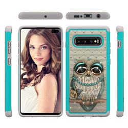 Sweet Gray Owl Studded Rhinestone Bling Diamond Shock Absorbing Hybrid Defender Rugged Phone Case Cover for Samsung Galaxy S10 Plus(6.4 inch)