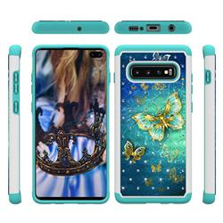 Gold Butterfly Studded Rhinestone Bling Diamond Shock Absorbing Hybrid Defender Rugged Phone Case Cover for Samsung Galaxy S10 Plus(6.4 inch)