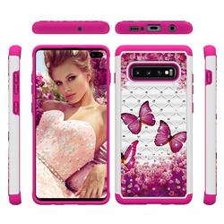 Rose Butterfly Studded Rhinestone Bling Diamond Shock Absorbing Hybrid Defender Rugged Phone Case Cover for Samsung Galaxy S10 Plus(6.4 inch)