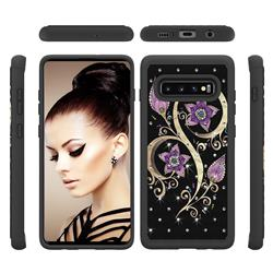 Peacock Flower Studded Rhinestone Bling Diamond Shock Absorbing Hybrid Defender Rugged Phone Case Cover for Samsung Galaxy S10 Plus(6.4 inch)