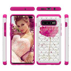 Watercolor Studded Rhinestone Bling Diamond Shock Absorbing Hybrid Defender Rugged Phone Case Cover for Samsung Galaxy S10 Plus(6.4 inch)