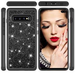 Glitter Rhinestone Bling Shock Absorbing Hybrid Defender Rugged Phone Case Cover for Samsung Galaxy S10 Plus(6.4 inch) - Black