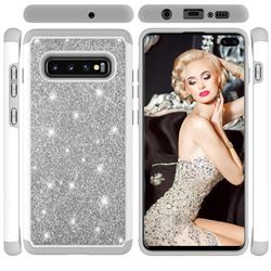 Glitter Rhinestone Bling Shock Absorbing Hybrid Defender Rugged Phone Case Cover for Samsung Galaxy S10 Plus(6.4 inch) - Gray