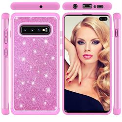 Glitter Rhinestone Bling Shock Absorbing Hybrid Defender Rugged Phone Case Cover for Samsung Galaxy S10 Plus(6.4 inch) - Pink