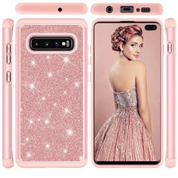 Glitter Rhinestone Bling Shock Absorbing Hybrid Defender Rugged Phone Case Cover for Samsung Galaxy S10 Plus(6.4 inch) - Rose Gold