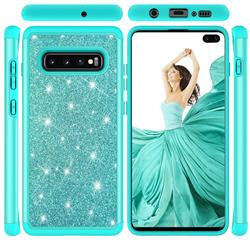 Glitter Rhinestone Bling Shock Absorbing Hybrid Defender Rugged Phone Case Cover for Samsung Galaxy S10 Plus(6.4 inch) - Green