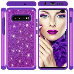 Glitter Rhinestone Bling Shock Absorbing Hybrid Defender Rugged Phone Case Cover for Samsung Galaxy S10 Plus(6.4 inch) - Purple