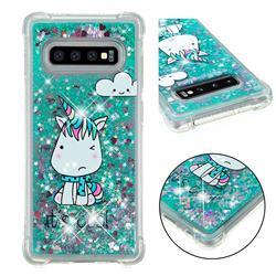 Tiny Unicorn Dynamic Liquid Glitter Sand Quicksand Star TPU Case for Samsung Galaxy S10 Plus(6.4 inch)