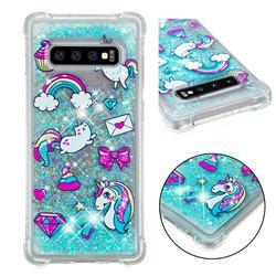 Fashion Unicorn Dynamic Liquid Glitter Sand Quicksand Star TPU Case for Samsung Galaxy S10 Plus(6.4 inch)