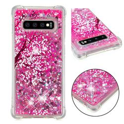 Pink Cherry Blossom Dynamic Liquid Glitter Sand Quicksand Star TPU Case for Samsung Galaxy S10 Plus(6.4 inch)