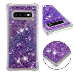 Dynamic Liquid Glitter Sand Quicksand Star TPU Case for Samsung Galaxy S10 Plus(6.4 inch) - Purple