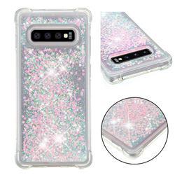 Dynamic Liquid Glitter Sand Quicksand TPU Case for Samsung Galaxy S10 Plus(6.4 inch) - Silver Powder Star