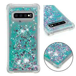 Dynamic Liquid Glitter Sand Quicksand TPU Case for Samsung Galaxy S10 Plus(6.4 inch) - Green Love Heart