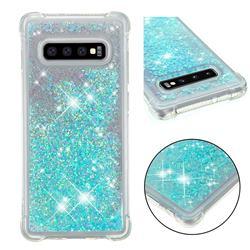 Dynamic Liquid Glitter Sand Quicksand TPU Case for Samsung Galaxy S10 Plus(6.4 inch) - Silver Blue Star