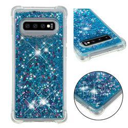 Dynamic Liquid Glitter Sand Quicksand TPU Case for Samsung Galaxy S10 Plus(6.4 inch) - Blue Love Heart