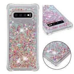 Dynamic Liquid Glitter Sand Quicksand TPU Case for Samsung Galaxy S10 Plus(6.4 inch) - Rose Gold Love Heart