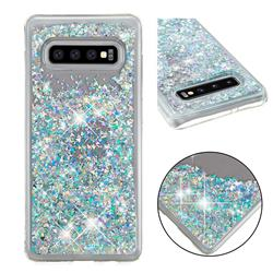 Dynamic Liquid Glitter Quicksand Sequins TPU Phone Case for Samsung Galaxy S10 Plus(6.4 inch) - Silver
