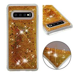 Dynamic Liquid Glitter Quicksand Sequins TPU Phone Case for Samsung Galaxy S10 Plus(6.4 inch) - Golden