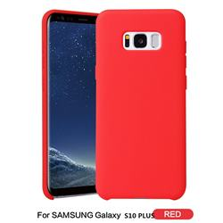 Howmak Slim Liquid Silicone Rubber Shockproof Phone Case Cover for Samsung Galaxy S10 Plus(6.4 inch) - Red