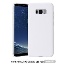Howmak Slim Liquid Silicone Rubber Shockproof Phone Case Cover for Samsung Galaxy S10 Plus(6.4 inch) - White