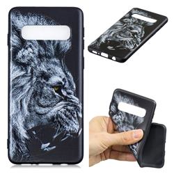 Lion 3D Embossed Relief Black TPU Cell Phone Back Cover for Samsung Galaxy S10 Plus(6.4 inch)