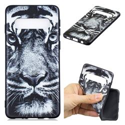 White Tiger 3D Embossed Relief Black TPU Cell Phone Back Cover for Samsung Galaxy S10 Plus(6.4 inch)
