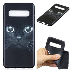 Bearded Feline 3D Embossed Relief Black TPU Cell Phone Back Cover for Samsung Galaxy S10 Plus(6.4 inch)
