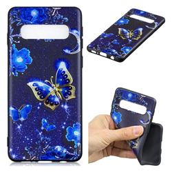 Phnom Penh Butterfly 3D Embossed Relief Black TPU Cell Phone Back Cover for Samsung Galaxy S10 Plus(6.4 inch)