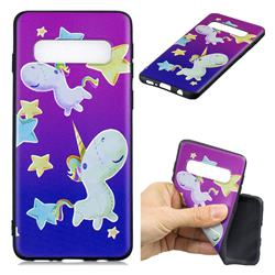 Pony 3D Embossed Relief Black TPU Cell Phone Back Cover for Samsung Galaxy S10 Plus(6.4 inch)