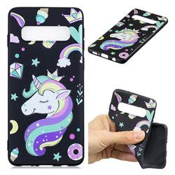 Candy Unicorn 3D Embossed Relief Black TPU Cell Phone Back Cover for Samsung Galaxy S10 Plus(6.4 inch)