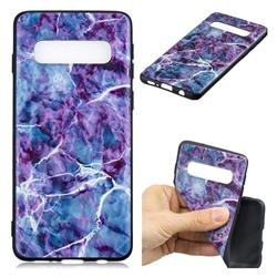 Marble 3D Embossed Relief Black TPU Cell Phone Back Cover for Samsung Galaxy S10 Plus(6.4 inch)