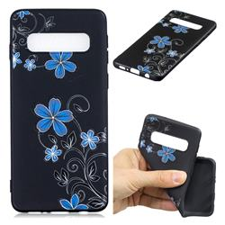 Little Blue Flowers 3D Embossed Relief Black TPU Cell Phone Back Cover for Samsung Galaxy S10 Plus(6.4 inch)
