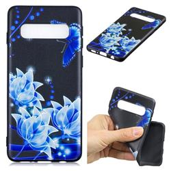 Blue Butterfly 3D Embossed Relief Black TPU Cell Phone Back Cover for Samsung Galaxy S10 Plus(6.4 inch)