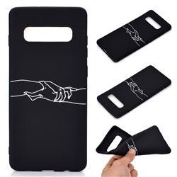 Handshake Chalk Drawing Matte Black TPU Phone Cover for Samsung Galaxy S10 Plus(6.4 inch)