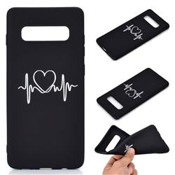 Heart Radio Wave Chalk Drawing Matte Black TPU Phone Cover for Samsung Galaxy S10 Plus(6.4 inch)