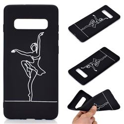 Dancer Chalk Drawing Matte Black TPU Phone Cover for Samsung Galaxy S10 Plus(6.4 inch)