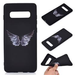 Wings Chalk Drawing Matte Black TPU Phone Cover for Samsung Galaxy S10 Plus(6.4 inch)