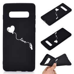 Heart Balloon Chalk Drawing Matte Black TPU Phone Cover for Samsung Galaxy S10 Plus(6.4 inch)