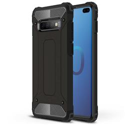 King Kong Armor Premium Shockproof Dual Layer Rugged Hard Cover for Samsung Galaxy S10 Plus(6.4 inch) - Black Gold