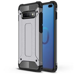 King Kong Armor Premium Shockproof Dual Layer Rugged Hard Cover for Samsung Galaxy S10 Plus(6.4 inch) - Silver Grey