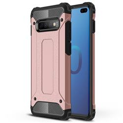 King Kong Armor Premium Shockproof Dual Layer Rugged Hard Cover for Samsung Galaxy S10 Plus(6.4 inch) - Rose Gold